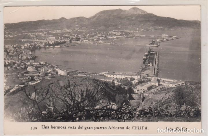 POSTAL Nº 139 CEUTA - UNA HERMOSA VISTA DEL GRAN PUERTO AFRICANO DE CEUTA - FOTO RUBIO. (Postales - España - Ceuta Moderna (desde 1940))