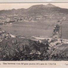 Postales: POSTAL Nº 139 CEUTA - UNA HERMOSA VISTA DEL GRAN PUERTO AFRICANO DE CEUTA - FOTO RUBIO.. Lote 171405854