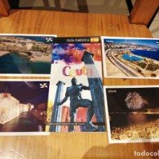 Postales: LOTE DE 4 POSTALES DE CEUTA Y GUÍA TURÍSTICA EN ESPAÑOL DE REGALO. Lote 174421033