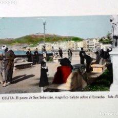 Postales: POSTAL - 11. CEUTA. PASEO DE S.SEBASTIÁN, MAGNÍFICO BALCÓN SOBRE EL ESTRECHO - FOTO RUBIO - ESCRITA. Lote 175429650