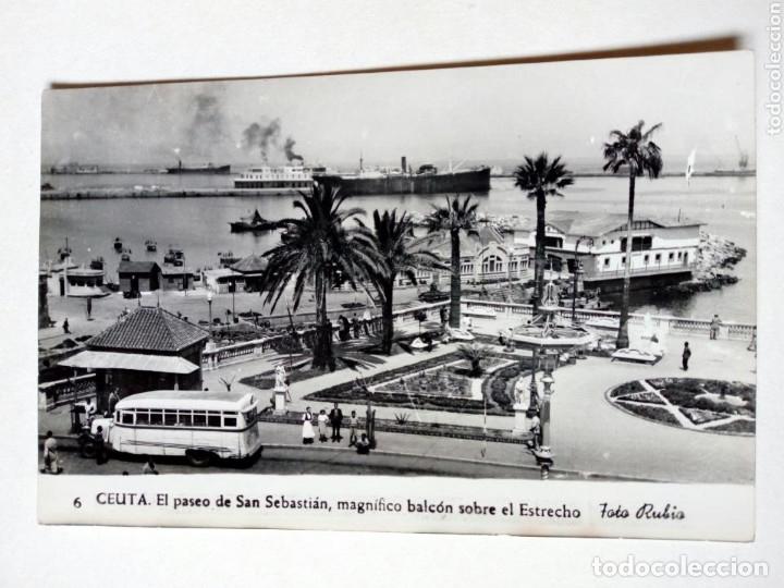 POSTAL - 6. CEUTA. PASEO DE SAN SEBASTIÁN, BALCÓN SOBRE EL ESTRECHO - FOTO RUBIO - ESCRITA (Postales - España - Ceuta Moderna (desde 1940))