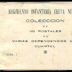 Postales: CEUTA REGIMIENTO INFANTERIA Nº60. BLOC COMPLETO 20 POSTALES DE DEPENDENCIAS DEL CUARTEL ( MILITAR ). Lote 177953464