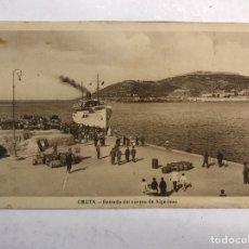 Postales: CEUTA. POSTAL ENTRADA DEL CORREO DE ALGECIRAS. SIN IDENTIFICAR EDITOR (H.1940?) SIN CIRCULAR. Lote 184404175