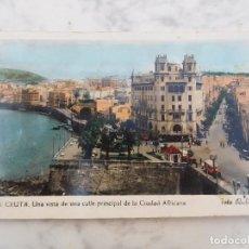 Postales: POSTAL ANTIGUA DE CEUTA. VISTA DE LA CALLE PRINCIPAL AÑO 1960. Lote 184451738