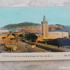 Postales: POSTAL ANTIGUA DE CEUTA. VISTA DE LA CIUDAD DEL NORTE DE AFRICA AÑO 1960. Lote 184451846