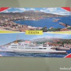 Postales: CEUTA - VISTA GENERAL Y TRANSBORDADOR - ESCRITA. Lote 185964258