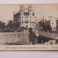 Postales: P-9831. CEUTA. VISTA DE UNA CALLE PRINCIPAL. FOTO RUBIO. CIRCULADA. AÑOS CUARENTA.. Lote 191835365