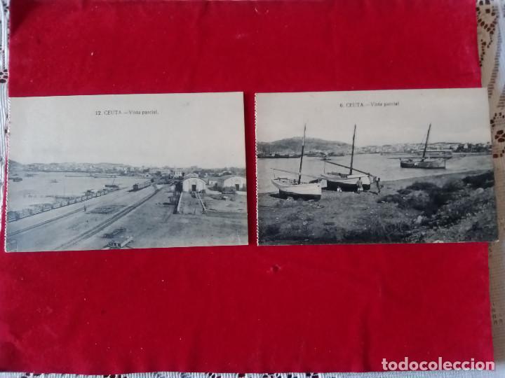 W.- 24.- LOTE DE -- 2-- POSTALES DE -- CEUTA -- 6.- 12.- VISTA PARCIAL .- SIN CIRCULAR (Postales - España - Ceuta Antigua (hasta 1939))