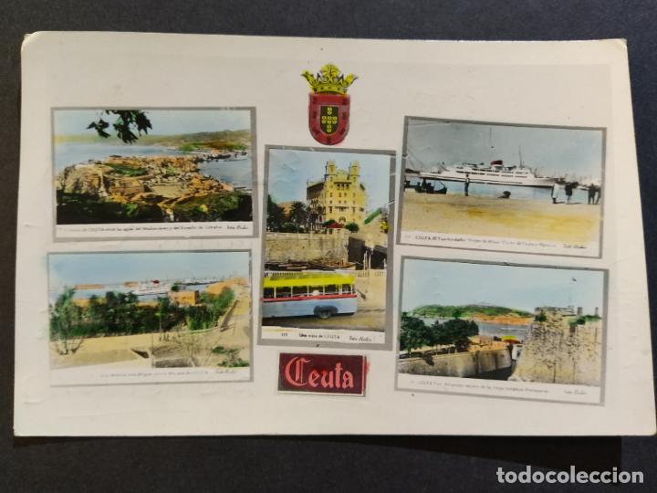 CEUTA-VARIAS VISTAS-AUTOBUS-BARCO-FOTO COLOR CASA RUBIO-POSTAL FOTOGRAFICA ANTIGUA-(68.606) (Postales - España - Ceuta Antigua (hasta 1939))