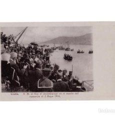 Postales: CEUTA.- S.M. EL REY AL DESEMBARCAR EN EL MUELLE DEL COMERCIO EL 3 DE MAYO 1904.. Lote 197905588