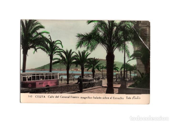 CEUTA.- CALLE DE GENERAL FRANCO. MAGNÍFICO BACÓN SOBRE EL ESTRECHO. (Postales - España - Ceuta Antigua (hasta 1939))