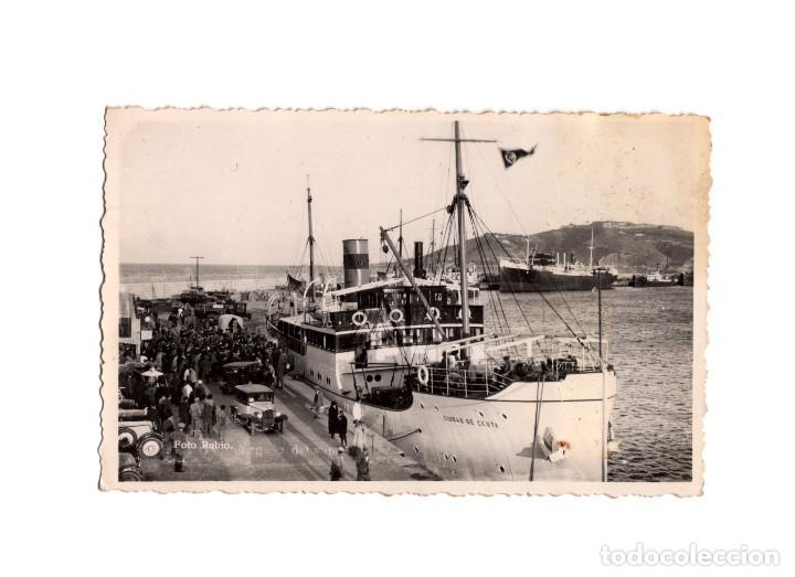 CEUTA.- VISTA DEL PUERTO Y LLEGADA DEL VAPOR CORREO CIUDAD DE CEUTA. POSTAL FOTOGRÁFICA.FOTO RUBIO. (Postales - España - Ceuta Antigua (hasta 1939))