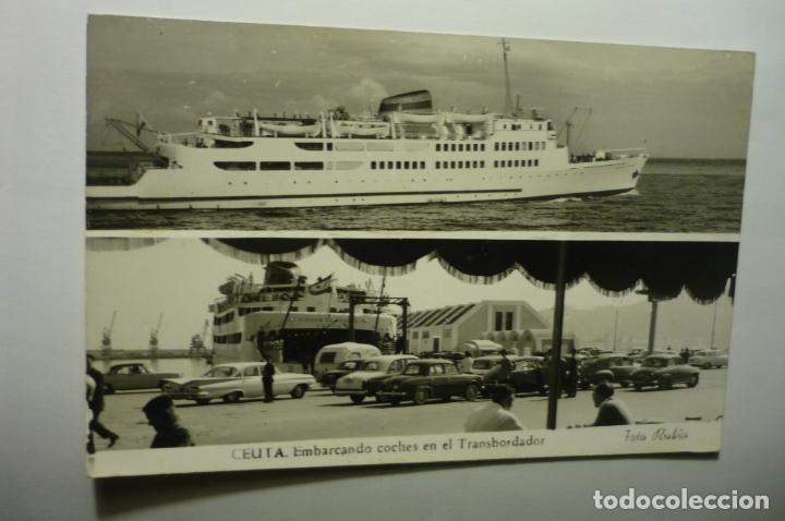 POSTAL CEUTA.-EMBARCADERO COCHES TRASBORDADOR ESCRITA (Postales - España - Ceuta Moderna (desde 1940))