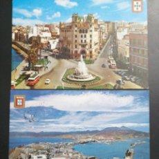 Postales: CEUTA, VISTA GENERAL Y PLAZA DEL GENERAL GALERA, DOS POSTALES. Lote 210153310