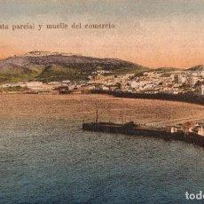 Postales: CEUTA. VISTA PARCIAL Y MUELLE DEL COMERCIO. Lote 221502206