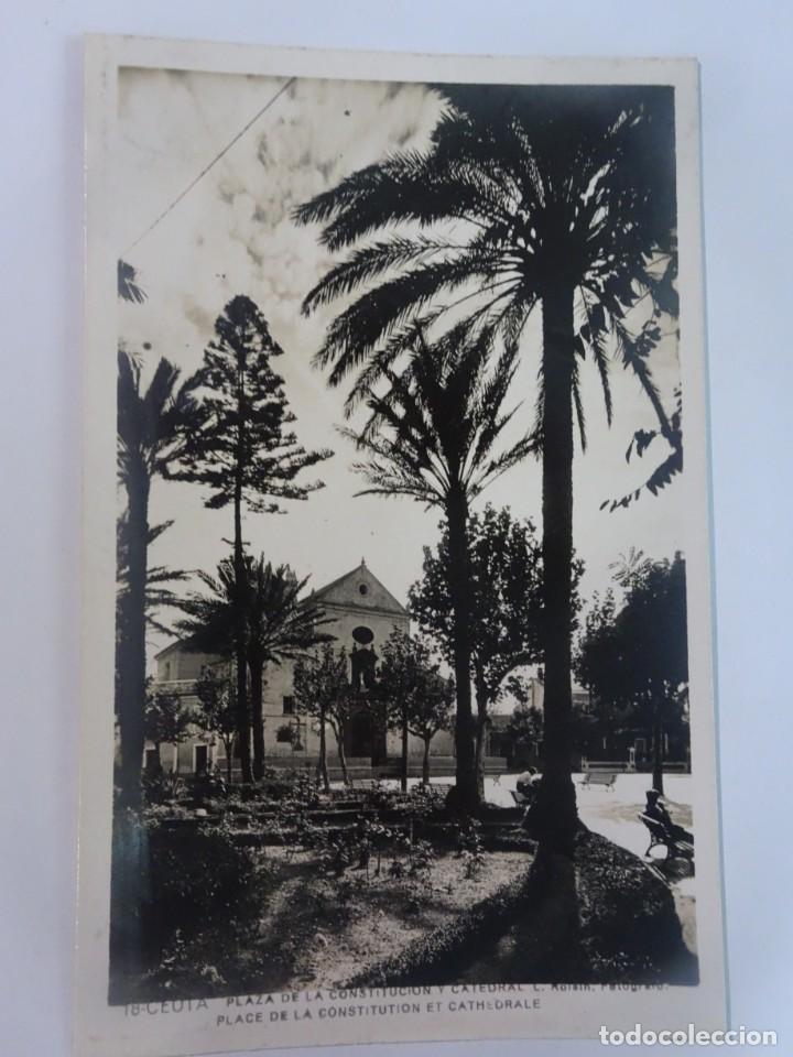 ANTIGUA POSTAL FOTOGRÁFICA, CEUTA, PLAZA DE LA CONSTITUCIÓN Y CATEDRAL, VER FOTOS (Postales - España - Ceuta Moderna (desde 1940))