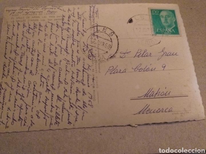 Postales: Postal de Lérida. El Valle de Arán Vísta Parcial. Circulada a MAHÓN Menorca - Foto 2 - 222389162