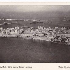 Postales: CEUTA UNA VISTA DESDE AVION. ED. FOTO RUBIO Nº 21. ESCRITA. Lote 222604563