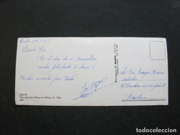 Postales: CEUTA-VISTA DE LA PLAZA DE AFRICA Y LA CATEDRAL-FOTO RUBIO-POSTAL ANTIGUA-(K-1273) - Foto 3 - 228960530