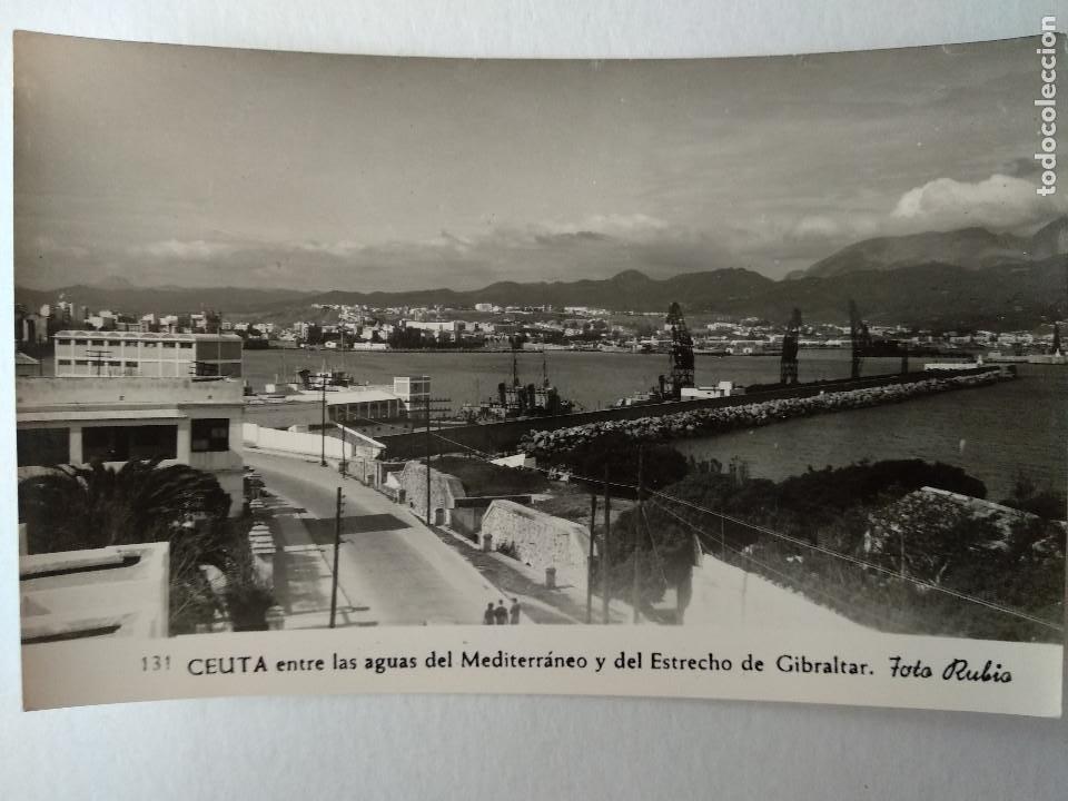 CEUTA ENTRE LAA AGUAS MEDITERRANEO Y ESTRECHO DE GIBRALTAR. FOTO RUBIO Nº131. (Postales - España - Ceuta Moderna (desde 1940))