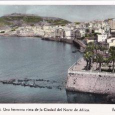 Postales: CEUTA, VISTA DE LA CIUDAD. ED. FOTO RUBIO Nº 49. POSTAL EN BYN COLOREADA. CIRCULADA. Lote 234737625