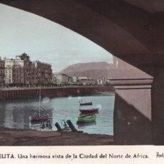 Postales: CEUTA, UNA VISTA DE LA CIUDAD. ED. FOTO RUBIO Nº 61. POSTAL EN BYN COLOREADA. ESCRITA. Lote 234738120
