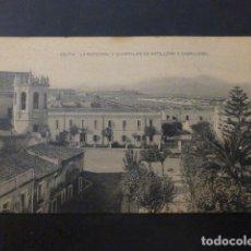 Postales: CEUTA LA CATEDRAL Y CUARTELES DE ARTILLERIA Y CABALLERIA. Lote 236074980