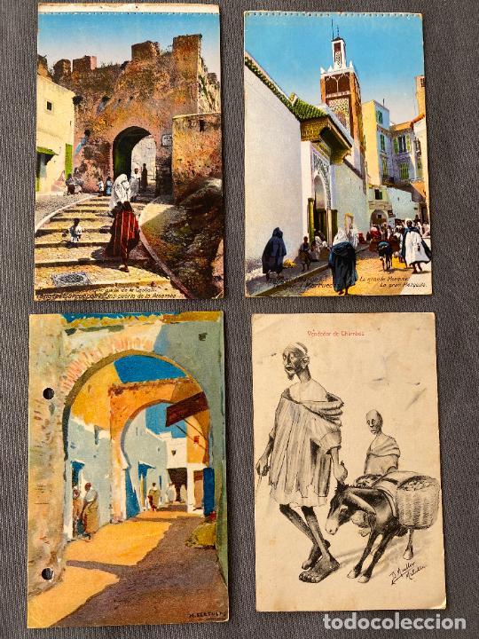 VENDEDOR DE CHUMBOS MELILLA , BERTUCHI , TANGER , 4 POSTALES ANTIGUAS (Postales - España - Ceuta Antigua (hasta 1939))