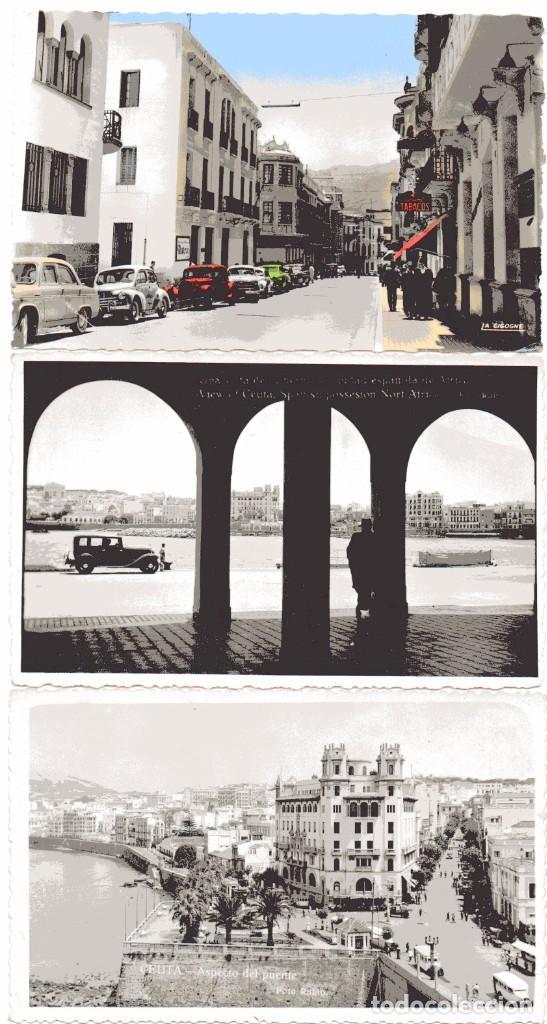 AD304 CEUTA: LOTE 3 FOTO POSTAL – INC FRANCISCO RUBIO (1920'S) / SELLO AZUL COMITE LOCAL TURISMO (Postales - España - Ceuta Antigua (hasta 1939))