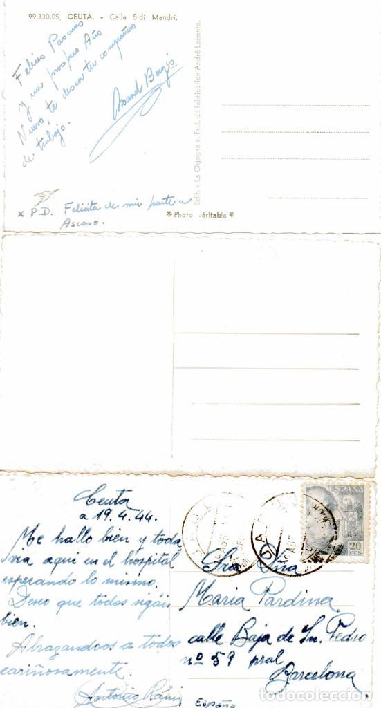 Postales: Ad304 CEUTA: LOTE 3 FOTO POSTAL – inc FRANCISCO RUBIO (1920s) / SELLO AZUL COMITE LOCAL TURISMO - Foto 2 - 254465505