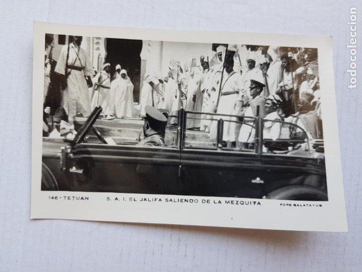 TETUAN RARA S . A .I EL JALIFA SALIENDO DE LA MEZQUITA FOTO CALATAYUD 146 COLONIA MARRUECOS ESPAÑOL (Postales - España - Ceuta Moderna (desde 1940))