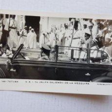 Postales: TETUAN RARA S . A .I EL JALIFA SALIENDO DE LA MEZQUITA FOTO CALATAYUD 146 COLONIA MARRUECOS ESPAÑOL. Lote 276255268
