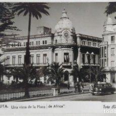 Postales: CEUTA UNA VISTA DE LA PLAZA DE AFRICA FOTO RUBIO 1954. Lote 276613448