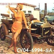 Postales: ANTIGUA POSTAL COCHE ANTIGUO Y CHICA (AÑOS 60) A ESTRENAR*. Lote 187331373
