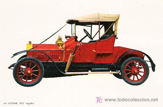 POSTALES C. Y Z. COMPLETAMENTE NUEVAS DE COCHES ANTIGUOS 1854-1914 - LA LICORNE AGATHE DE 1912 (Postales - Postales Temáticas - Coches y Automóviles)