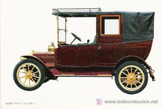 POSTALES C. Y Z. COMPLETAMENTE NUEVAS DE COCHES ANTIGUOS 1854-1914 - ADLER K 7/15 DE 1912 (Postales - Postales Temáticas - Coches y Automóviles)