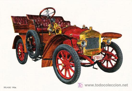 POSTALES C. Y Z. COMPLETAMENTE NUEVAS DE COCHES ANTIGUOS 1854-1914 - DELAGE DE 1906 (Postales - Postales Temáticas - Coches y Automóviles)