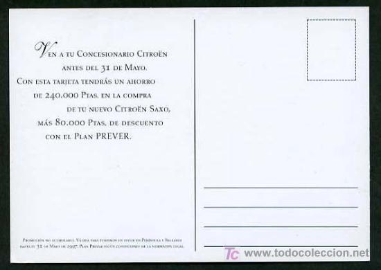 Postales: *Citroën - Citroën Saxo* Nueva. - Foto 2 - 236205235