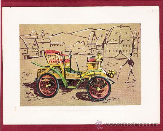 PRECIOSA LÁMINA DOBLE COCHES ANTIGUOS - PEUGEOT 1900 - VR SERIE 1000 (Postales - Postales Temáticas - Coches y Automóviles)