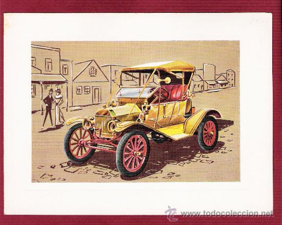 PRECIOSA LÁMINA DOBLE COCHES ANTIGUOS - T-FORD 1908 - VR SERIE 1000 (Postales - Postales Temáticas - Coches y Automóviles)