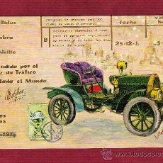 Postales: MAGNÍFICO DÍPTICO AÑOS 70 - COCHES ANTIGUOS - ILUSTRADO POR LUTTER - LETRAS DORADAS. Lote 13126261