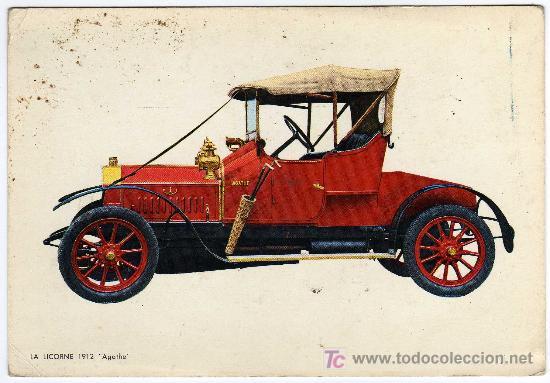 BONITA POSTAL - COCHE DE EPOCA - LA LICORNE 1912 - AGATHE- (Postales - Postales Temáticas - Coches y Automóviles)