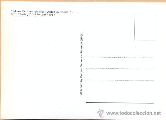 Postales: POST 587 - AUTOBUS SERIE 2 - BUSSING D 2 U BAUJAHR 1954 - Foto 3 - 28544752