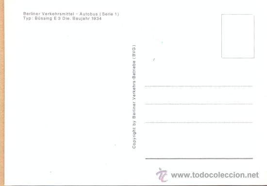 Postales: POST 588 - AUTOBUS SERIE 1 - BUSSING E 3 DIE BAUJAHR 1934 - Foto 3 - 28544996
