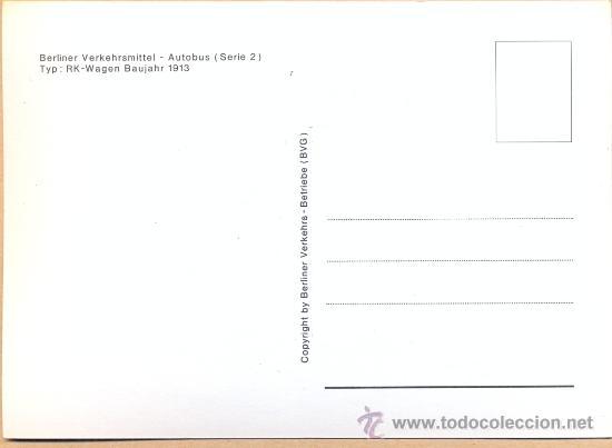 Postales: POST 597 - AUTOBUS SERIE 2 - RK WAGEN BAUJAHR 1913 - Foto 2 - 28546040