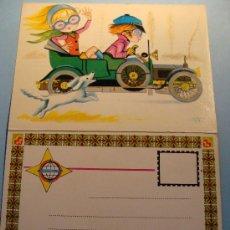 Postales: POSTAL AÑO 1970. COCHE DE ÉPOCA DAIMIER 1910 CON NIÑOS / COSTA BRAVA. 450. . Lote 29547325