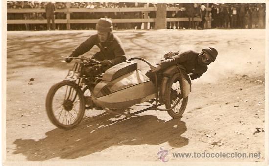 POSTAL FOTOGRAFICA CARRERA SIDECARS CIRCUITO LEVANTE 1925 (Postales - Postales Temáticas - Coches y Automóviles)