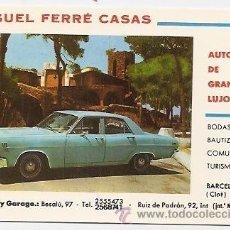 Postales: TARJETA PUBLICITARIA DE SERVICIO AUTOCARES DE GRAN LUJO. AUTOS MIGUEL FERRÉ CASAS. BARCELONA. Lote 37650091