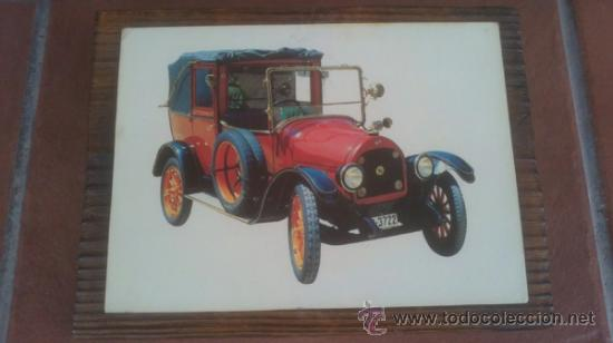 Postales: DECORATIVA COLECCION ANTIGUAS POSTALES AUTOMOVILES EN BASE DE MADERA - Foto 2 - 38687133