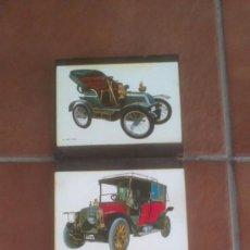 Postales: DECORATIVA COLECCION ANTIGUAS POSTALES AUTOMOVILES EN BASE DE MADERA. Lote 38687184